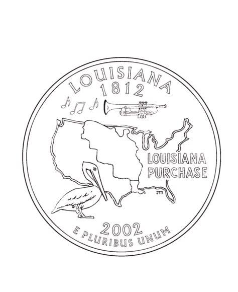 coloring page quarter usa printables louisiana state quarter us states