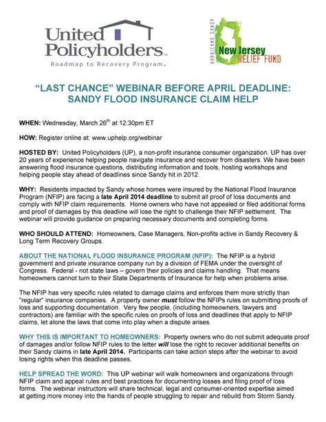Flood Insurance Letters Superstorm Claim Help United Policyholders