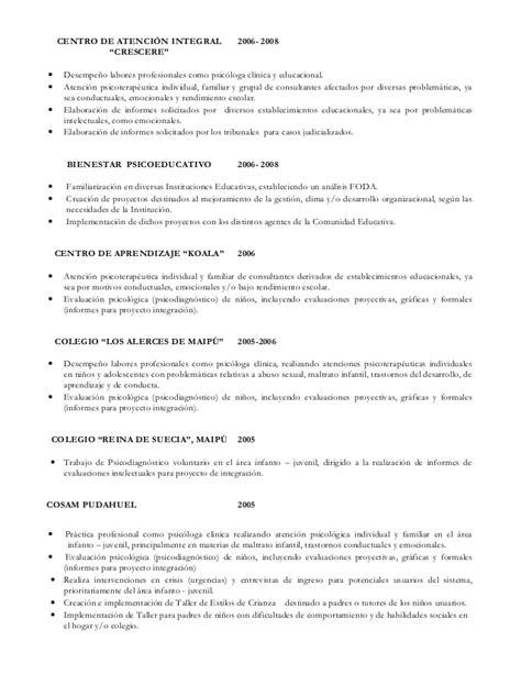 Modelo Curriculum Vitae Psicologo Clinico Curriculum Psic 243 Loga Educacional