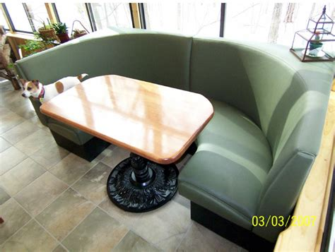 Rustic Circle Booth: Wood Table, Patio Booth, Sun Room Seating