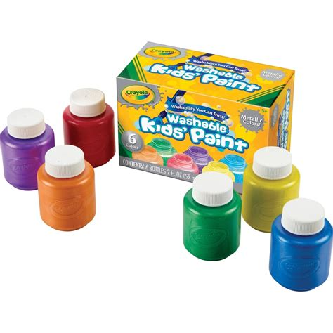 crayola metallic colors washable paint 2 oz 6 set yellow
