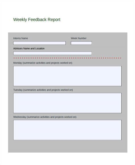 Feedback Report Template Word