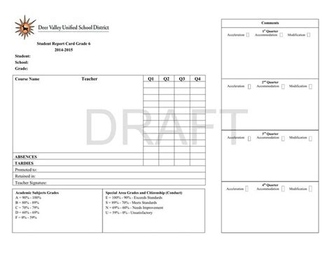6th grade report card template report card template free premium templates