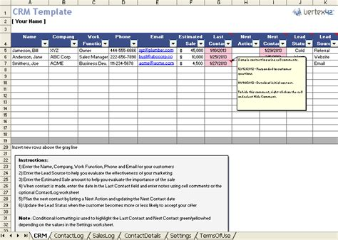 contact management template free excel crm template for small business