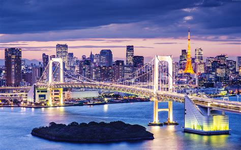Lake Home Interiors Wallpaper Tokyo Bay Japan Bridge Night Travel Tourism