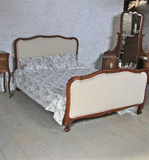 antique king size bed good quality walnut framed french louis xv style newly