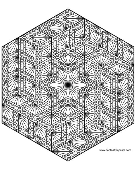 small mandala coloring pages diamond hexagon geometric mandala to color also available