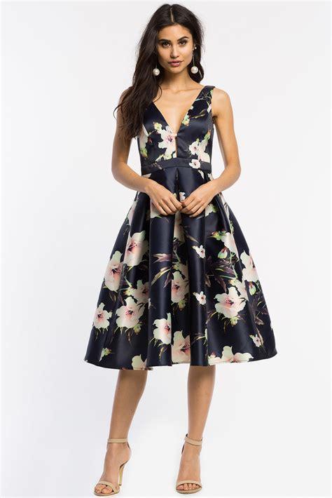 Rizaliana Flowery Flare Midi Dress s fit flare dresses camillia floral flare midi dress a gaci