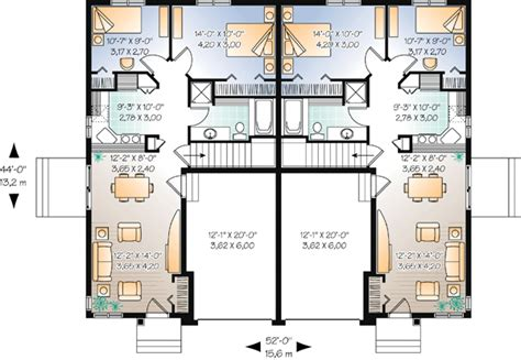 Duplex Plan Chp 44105 At Coolhouseplans Com Loose Duplex Tiny House Plans