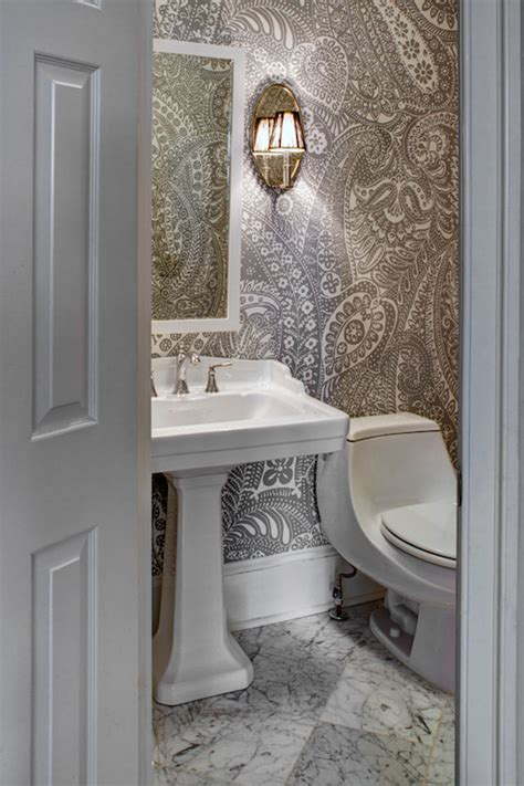 grey wallpaper for bathroom paisley wallpaper transitional bathroom case design