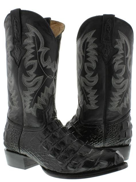 mens black cowboy boots s black alligator crocodile back cut cowboy boots