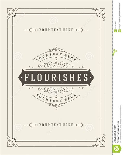 retro place card template vintage ornament greeting card vector template stock