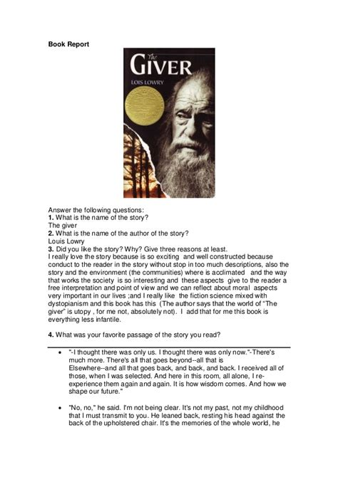 book report on the giver by lois lowry book report quot the giver quot