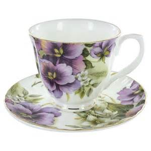 purple pansy bone china cup and saucer set of 4