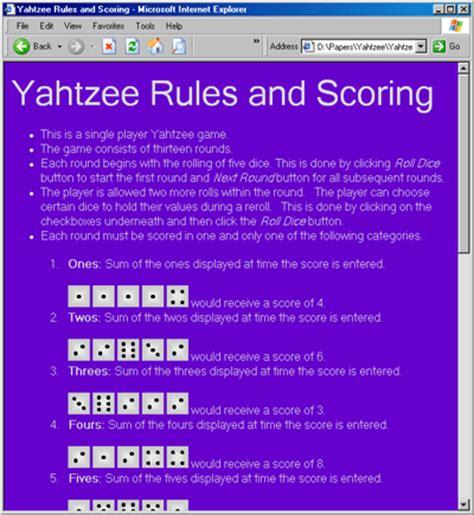 printable yahtzee rules javascript yahtzee codeproject
