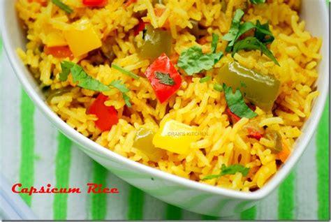 Raks Kitchen Tomato Rice by Capsicum Vegetable Pulao Recipe Capsicum Rice Raks Kitchen