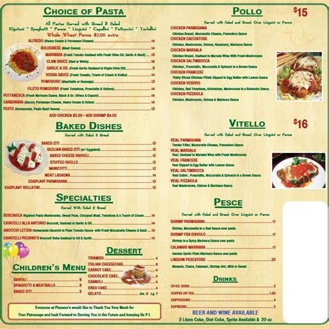 Noodles Italian Kitchen Menu by Menu For Piezano S Pizza Pasta 4131 N Federal Hwy