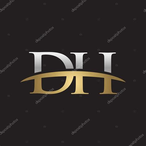 Dh Logo initial letter dh silver gold swoosh logo swoosh logo