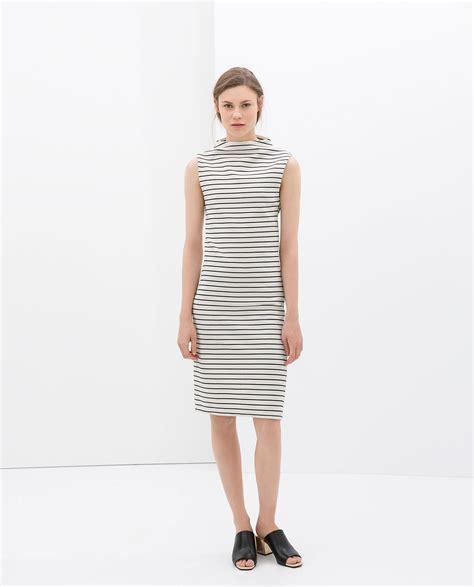zara striped dress in blue ecru navy lyst