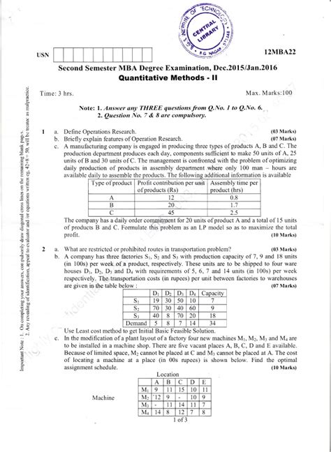Mba Question Papers 1st Semester 2016 by Business Research Methods Question Paper