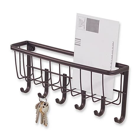 interdesign 174 wall mount mail key rack in bronze bed