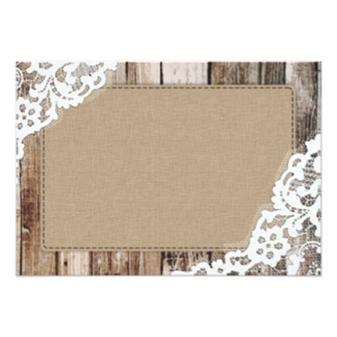 Blank Rustic Invitations Announcements Zazzle Co Uk Burlap And Lace Template