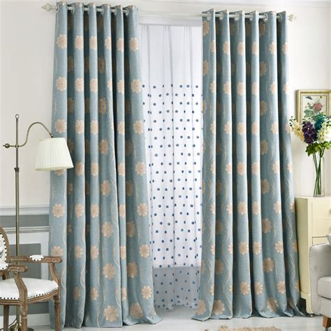 long bedroom curtains blue floral jacquard linen cotton blend long bedroom curtains