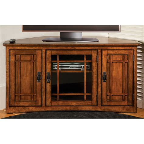 Wood Cabinets With Doors Wooden Corner Tv Cabinet With 3 Doors And Glass Dvd Storage Plus Metal Hardware Decofurnish