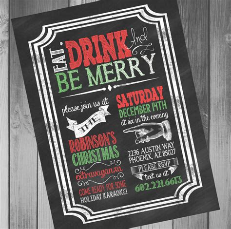 christmas party invitations chalkboard invitation by