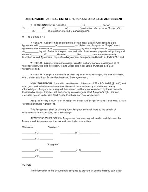 Credit Assignment Agreement Sle Assignment Of Real Estate Purchase And Sale Agreement