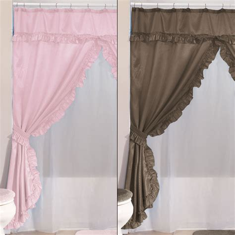 double swag shower curtains with valance double swag shower curtains with valance home walter drake