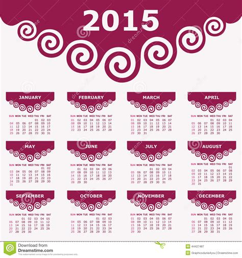 typography 2015 calendar calendar of 2015 with spiral design stock vector image