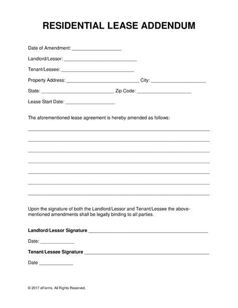 free residential lease addendum template pdf word