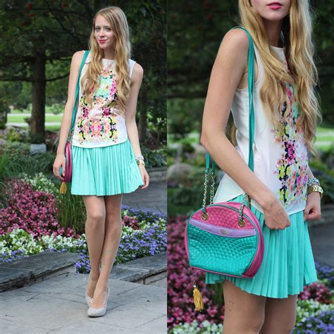 how to wear a mint pleated skirt nataliastyle