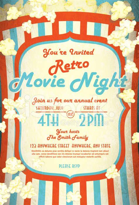 retro movie night invitation design template stock photos