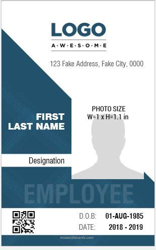 employees identity card template 8 best professional design vertical id card templates