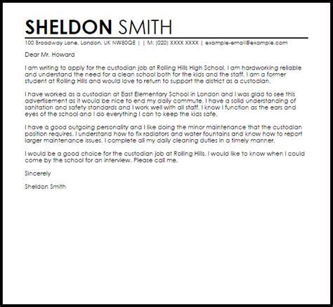 Sample Cover Letter For A Custodian   Job Cover Letters