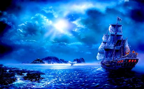 wallpaper blue fantasy blue fantasy sail full hd wallpaper and background image