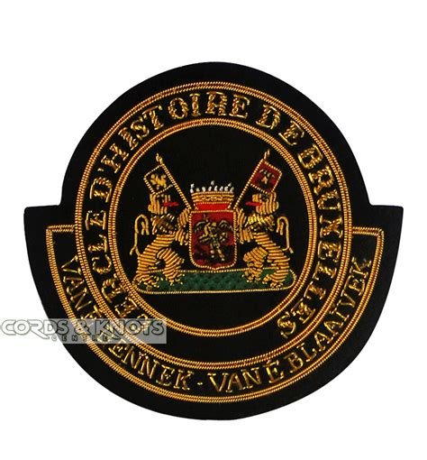 Handmade Badge - embroidery badges cords knots centre bagpipe