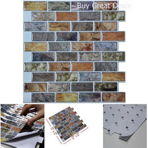 kitchen backsplash stick on tiles 3d wall bathroom kitchen backsplash peel and stick faux ceramic tile 10piece ebay