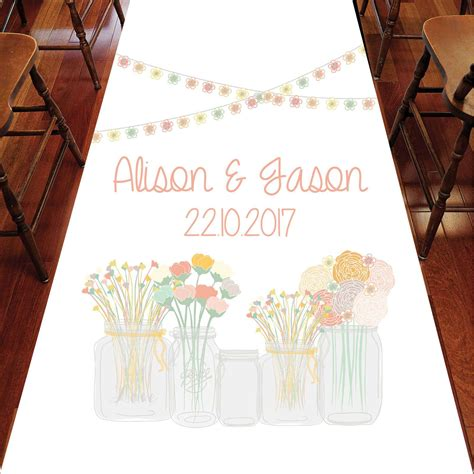 Wedding Aisle Runner Australia by Rustic Jars Wedding Personalised Aisle Runner