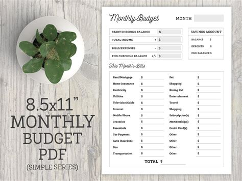 monthly budget planner printable to do checklist organization printable letter size 8