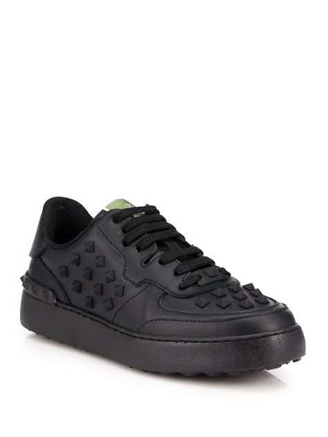 s valentino sneakers valentino rockstud leather sneakers in black lyst