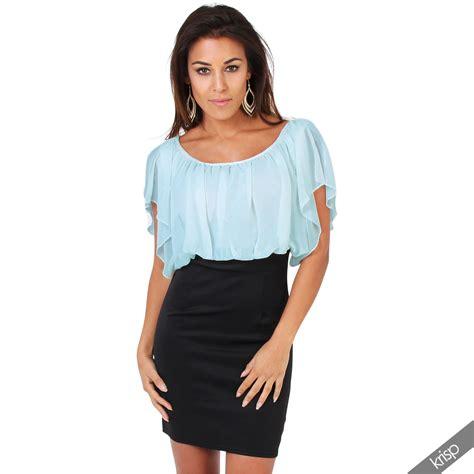 Tops Skrit womens pleated chiffon batwing top high waist pencil bodycon skirt mini dress ebay