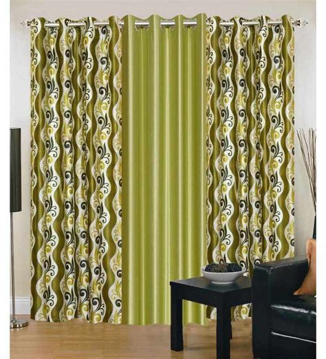 Fancy Door Curtains Exporthub Beautiful Fancy Eyelet Door Curtain Set Of 3 Printed Greens By Exporthub