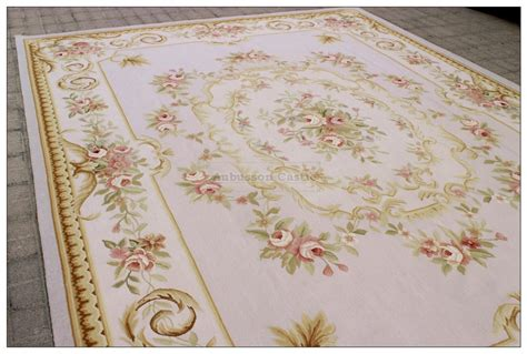 subtle gray blue  aubusson area rug  pink roses wool