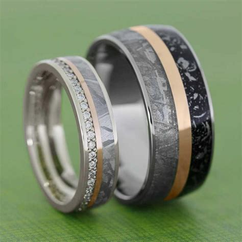 meteorite wedding band set with gold pinstripes