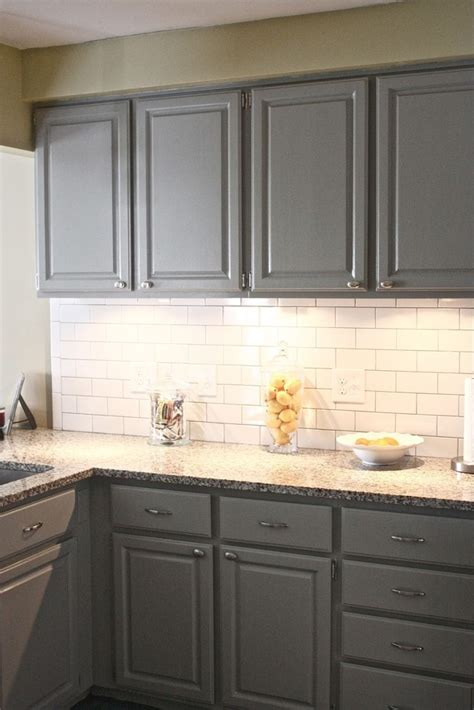 gray glass subway tile backsplash kitchens pinterest gray cabinets with white subway tile backsplash gray