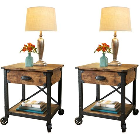 Walmart Bedside Table by Better Homes And Garden Rustic Country Side Table Set Of