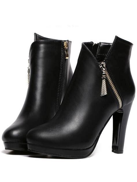 The Enligne Tragen Boots black high heel zipper pu boots footwear